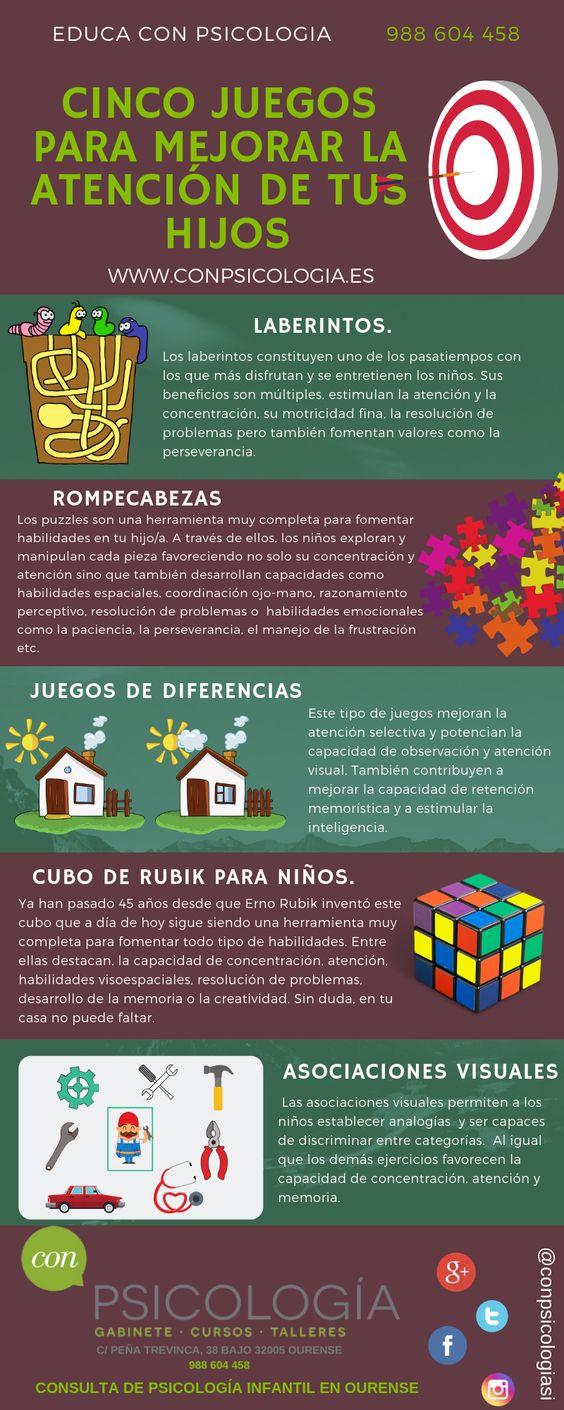 infografía: cinco juegos para mejorar la atención en niños
