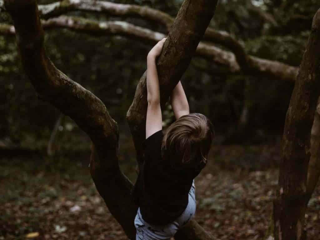 imagen de un niño trepando a un árbol para ilustrar la importancia de desarrollar la resiliencia en niños